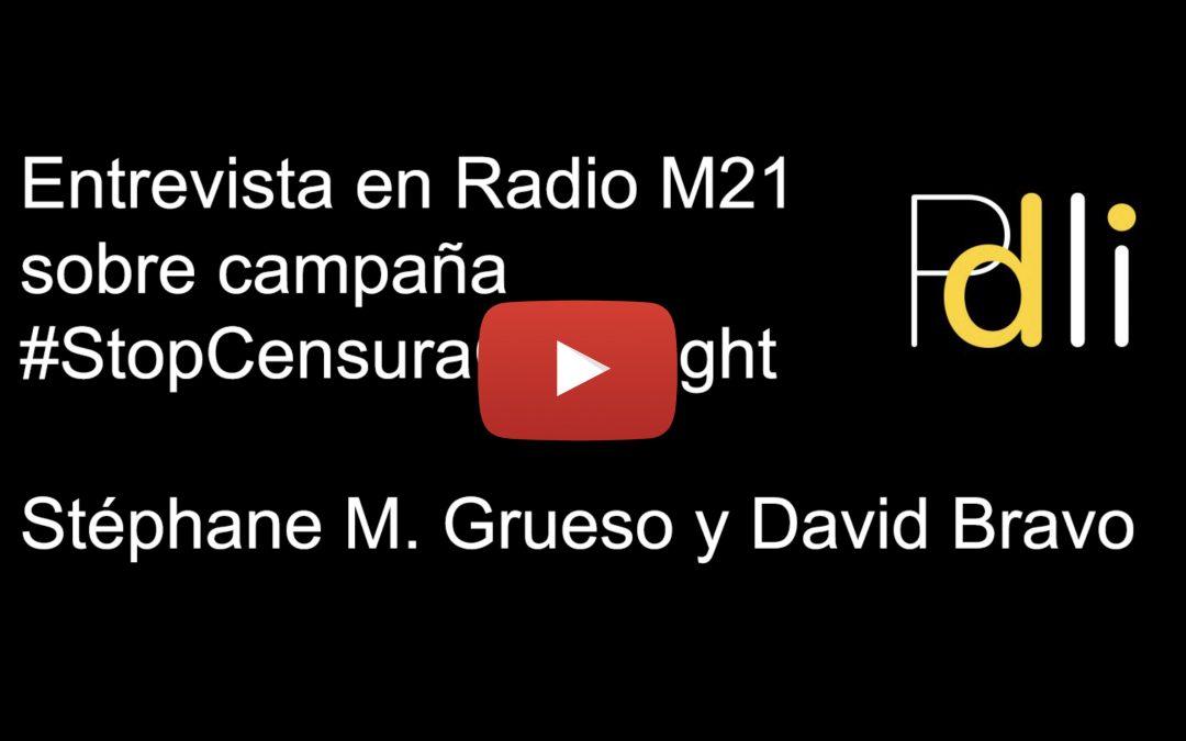 [AUDIO] Entrevista en M21 Radio a Stéphane M. Grueso y a David Bravo